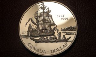 1999 Canada Proof Silver One Dollar Piece - 225th Anniv.  Of Juan Perez Voyage photo