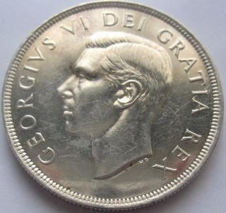 Canada George Vi One Dollar 1949 Silver Uncirculated photo