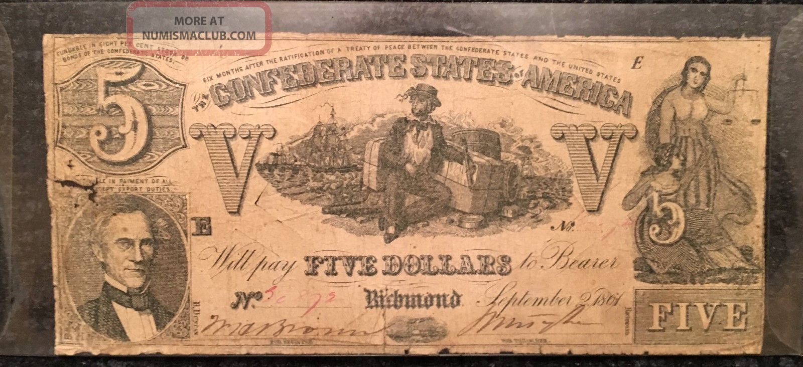 1861 Confederate States Of America $5 Five Dollar Bill Civil War Currency Note Paper Money: US photo