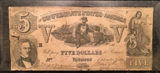 1861 Confederate States Of America $5 Five Dollar Bill Civil War Currency Note photo