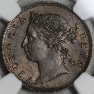 1897 Ngc Ms 62 Mauritius 2 Cents Queen Victoria Britain Empire Coin (15101902c) photo