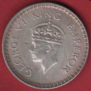 British India - 1944 - One Rupee - Kg Vi - Bombay - Rare Silver Coin O - 15 photo
