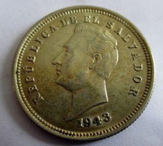 El Salvador Scarce Unc 2nd Year Type 1925 Centavos 7.  5 Grams 900 Silver photo