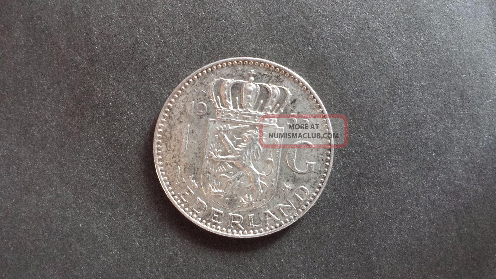 1955 Nederland 1 G Julian Koningin Dernederlanden Silver Coin