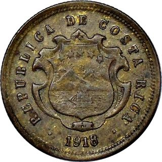Costa Rica 10 Centavos 1918 Gcr Km 149.  2 Nearly Extremely Fine photo