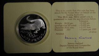 1978 Colombia 100 Pesos Crocodile Silver Proof Coin W/ photo