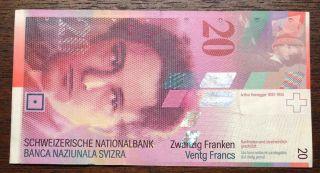Switzerland Circulate 20 Swiss Francs Banknote - Note But See Below photo