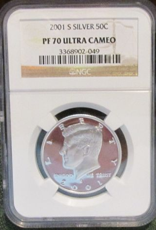 Kennedy Half Dollar 2001 S Silver Ngc Pf 70 Ultra Cameo photo