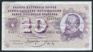 1970 Switzerland 10 Franken 10f Currency Note Extremely Fine Xf Pick - 45p photo