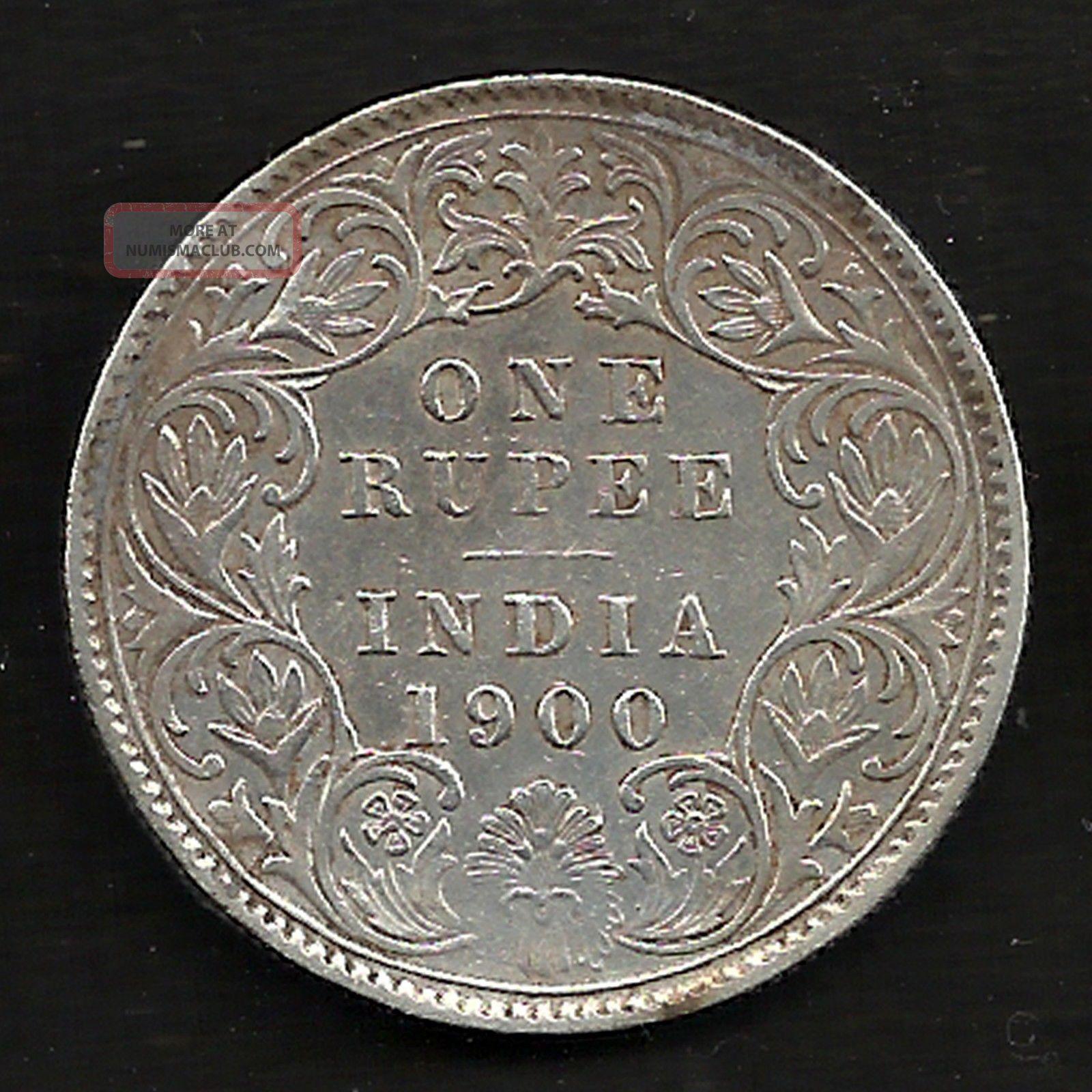 British India - 1900 - Victoria Empress - One Rupee - Ex Rarest Silver Coin India photo