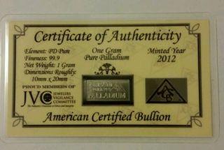 1 Gram Pure Palladium Bar photo