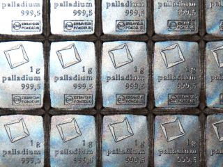 Palladium 1 Gram Valcambi Suisse Combibar 1g Pd 999,  5 - Exact Bar In Picture photo