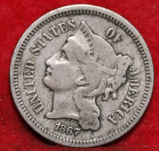 1867 Philadelphia Nickel Three Cent Coin photo