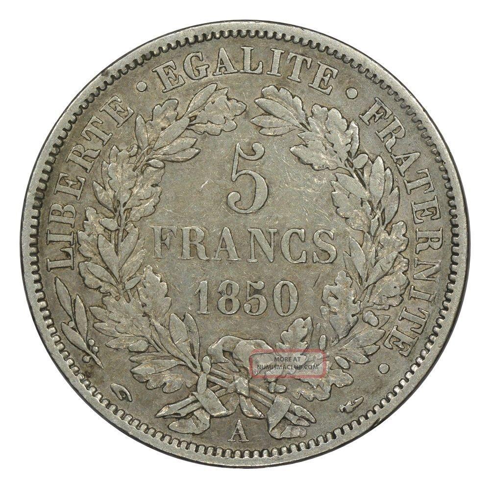 France 1850a 5 Francs Vf. France photo