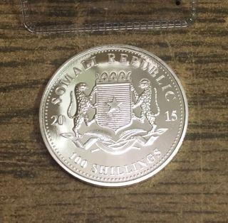 2015 1 Oz.  Somalia Elephant.  999 Silver 100 Shillings,  Bu,  Somali Republic photo