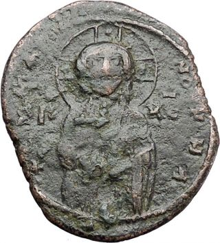 Jesus Christ Class C Anonymous Ancient 1034ad Byzantine Follis Coin I47440 photo