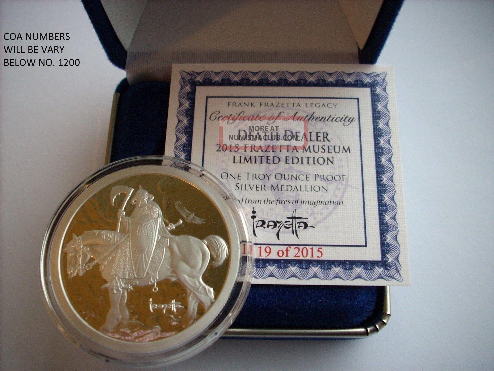 1 Oz Silver Coin Proof Frank Frazetta Death Dealer Art
