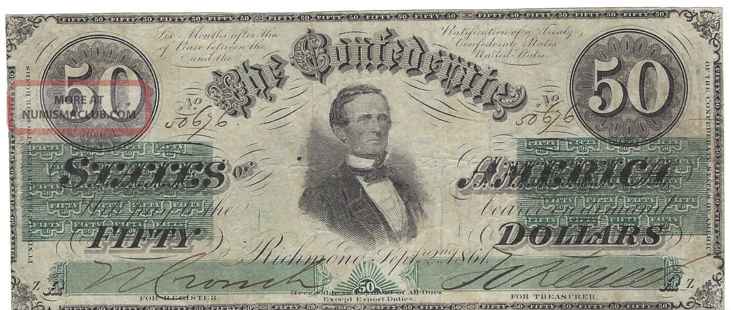1861 September 2 Issue Confederate 50 Dollar T - 16 Note Tough Paper Money: US photo