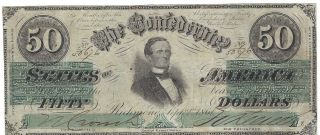 1861 September 2 Issue Confederate 50 Dollar T - 16 Note Tough photo