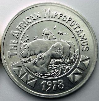 African Hippopotamus Token - 1978 Zulu (blaine Kern) Aluminum Doubloon photo