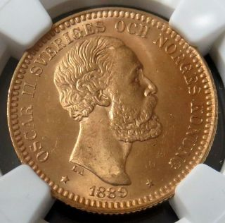 1889 Eb Gold Sweden 20 Kronor Coin King Oscar Ii Ngc State 65 photo