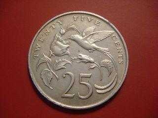 Jamaica 25 Cents,  1975,  Streamer - Tailed Hummingbird photo
