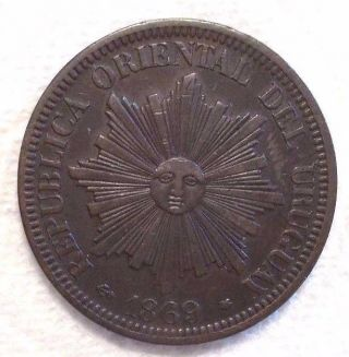 1869 A Uruguay 4 Centesimos Km 13 Bronze Coin photo