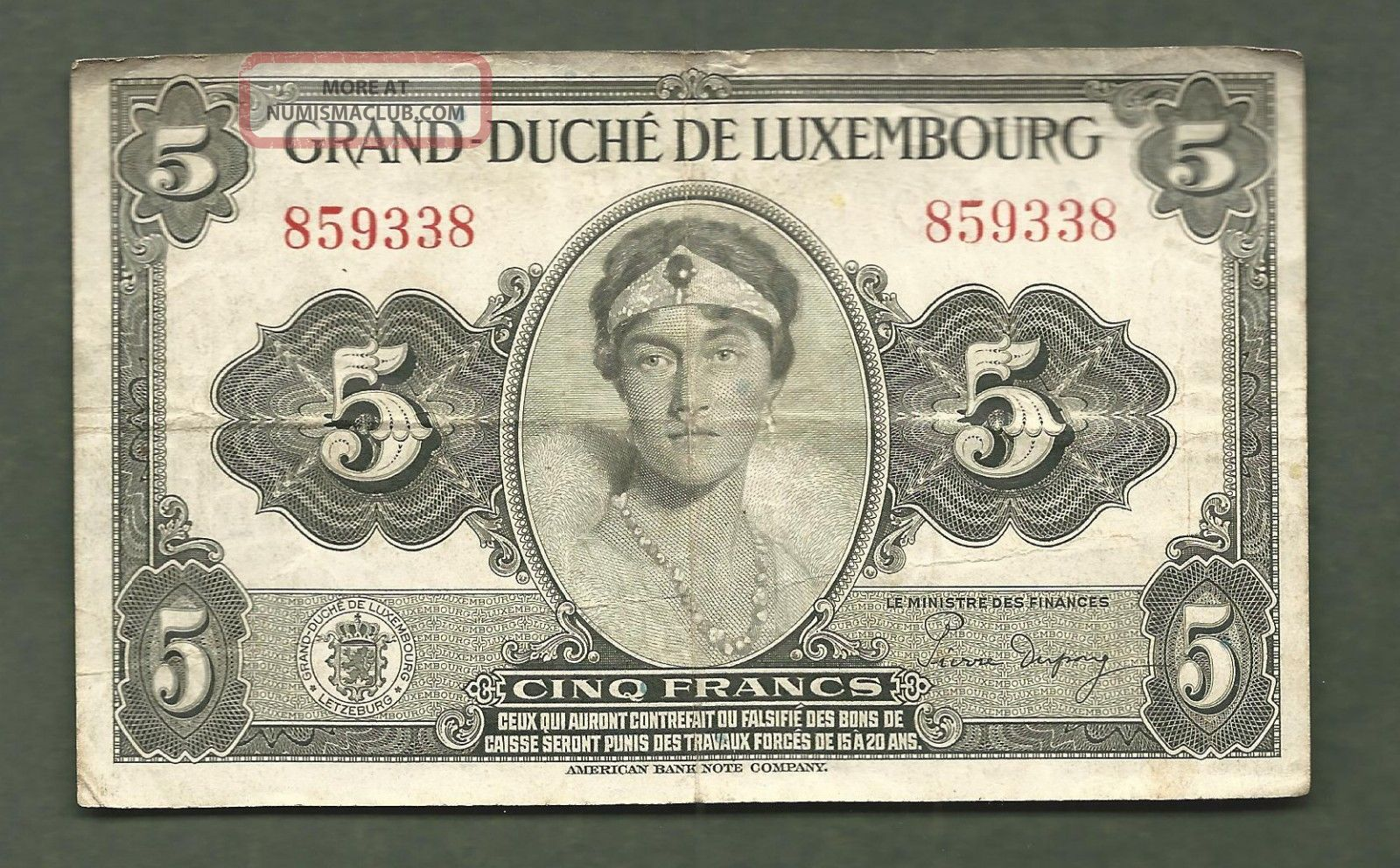 Luxembourg 5 Francs 9338 99 Cents Or Less
