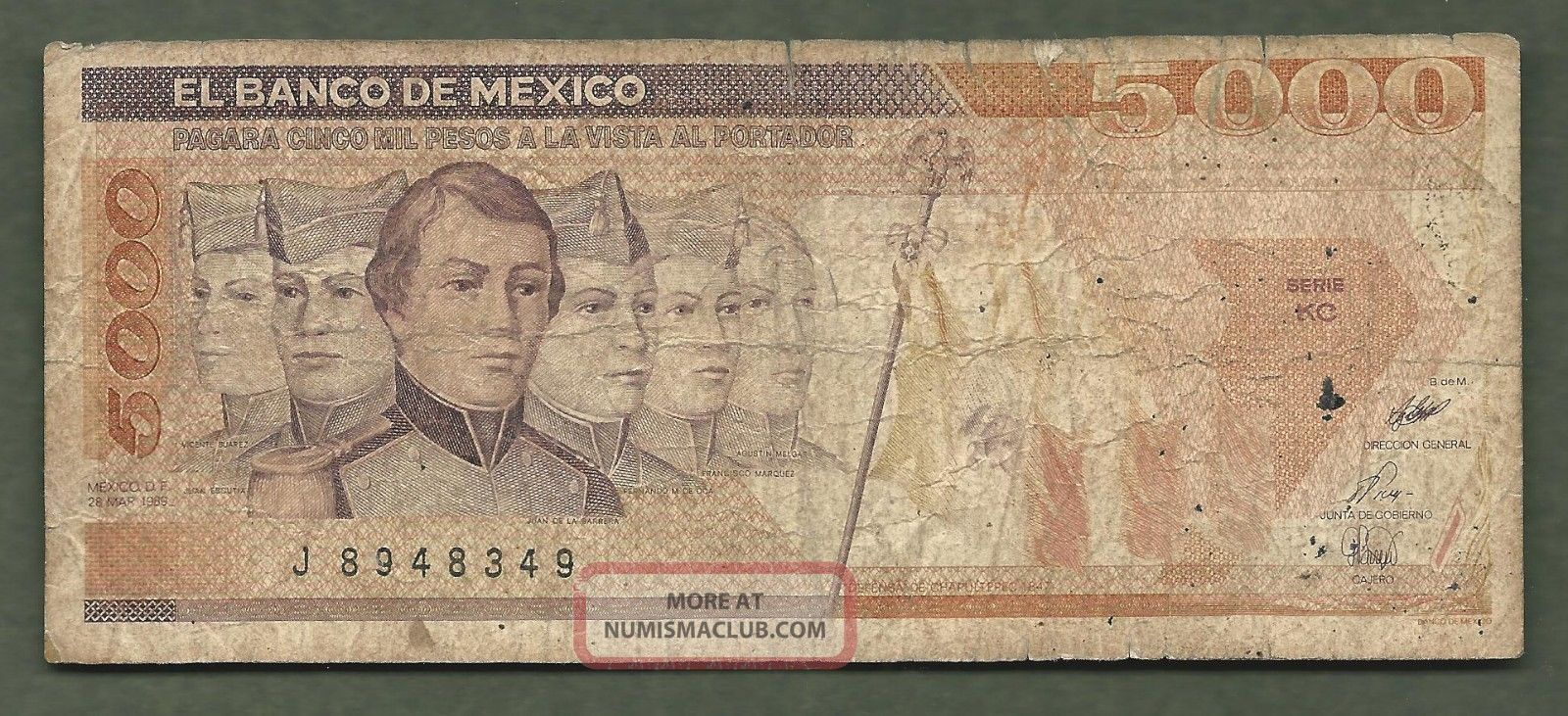 Mexico 5000 Pesos 8349 99 Cents Or Less