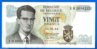 Belgium 20 Francs 1964 King Baudouin Atomium Complexfree Ship World photo