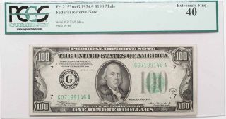 Fr.  2153m - G 1934 - A $100 Mule Federal Reserve Note Pcgs Xf40 photo