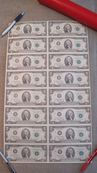 Uncut Sheet Of (16) $2 Bills 1976 Series Uncirculated photo