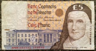 Central Bank Of Ireland Republic 5 Pounds Note 1998 Circulated Foreign Currency photo