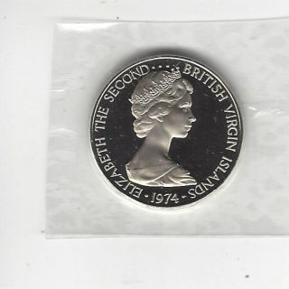 British Virgin Islands 25 Cents,  1974,  Proof,  In Cello photo
