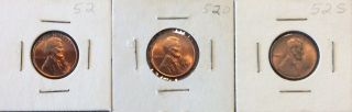 1952 - P,  D,  S Lincoln Cents - Uncirculated photo