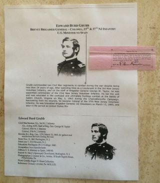 Civil War General Colonel 23rd & 37th Jersey Infantry Bond Document Signed photo