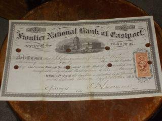 Maine Bank Stock Frontier National Bank Of Eastport,  Me.  1895 photo