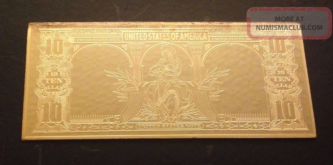 10 Ten Dollar Bill Note 999 Fine Silver 4 Oz Bar 2001
