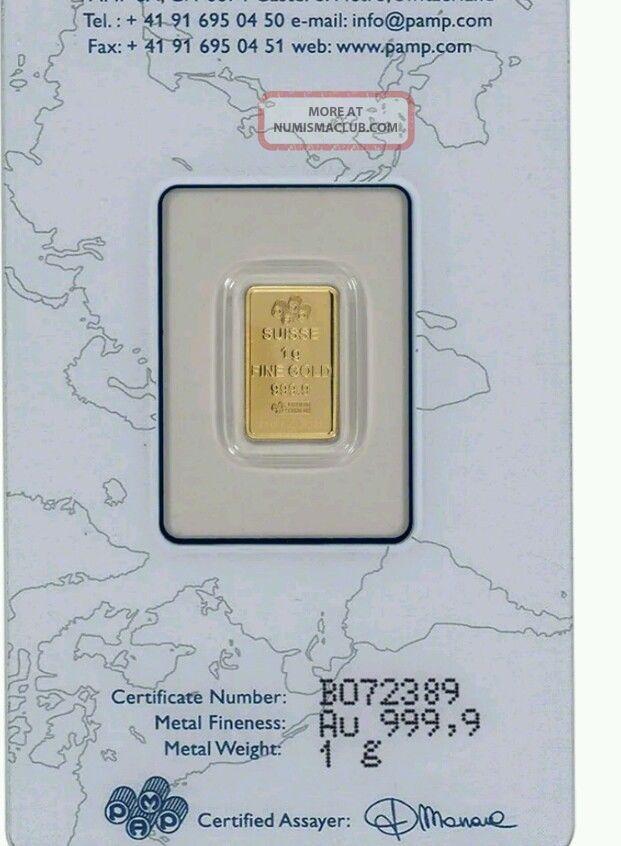 1 Gram Gold Bar Pamp Suisse Fortuna 999 9 Fine In Assay