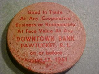 Pawtucket Ri 1961 Wooden Nickel Face 5c Value photo