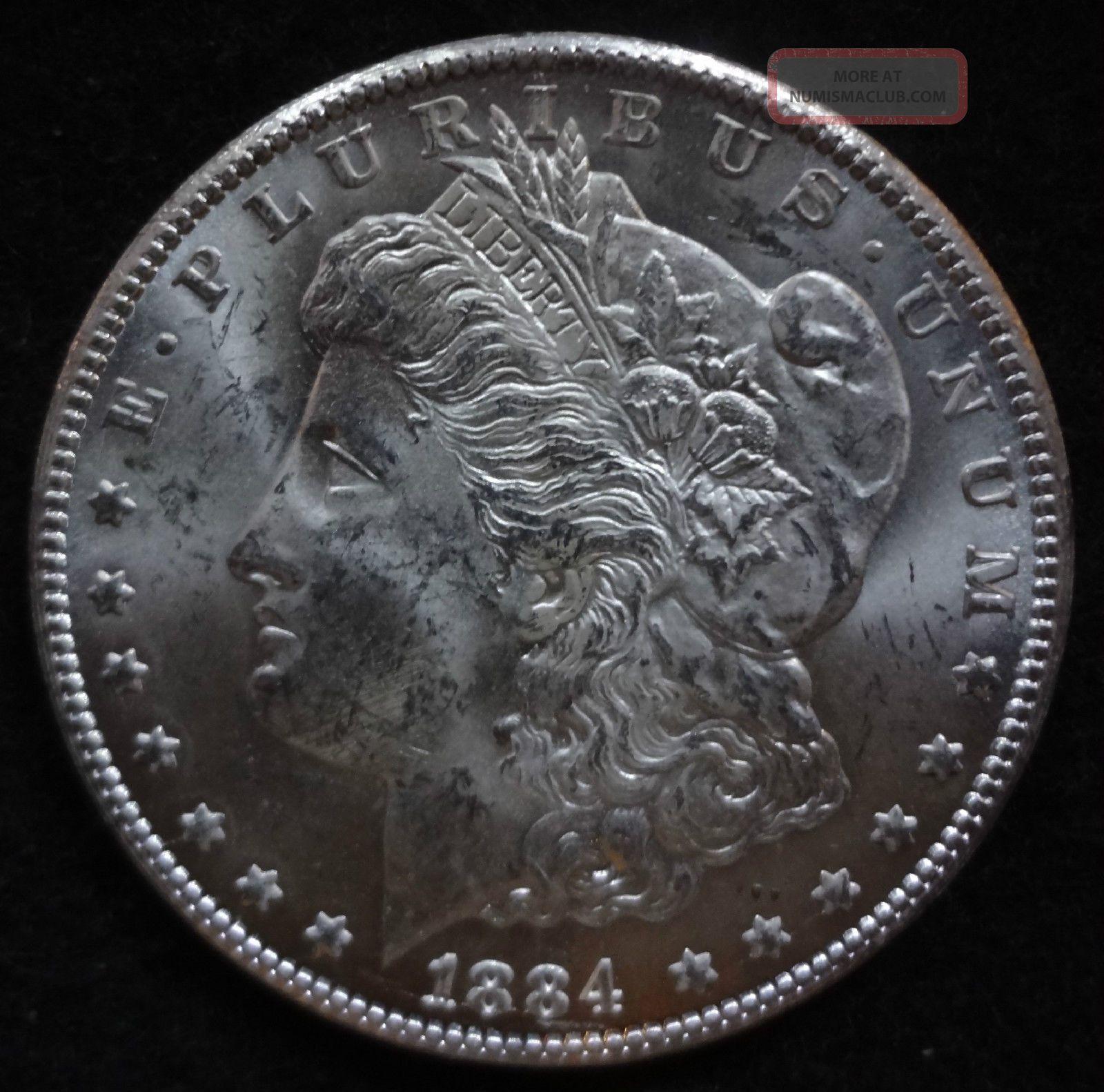 1884 Cc Morgan Silver Dollar A Very Frosty Au Ms