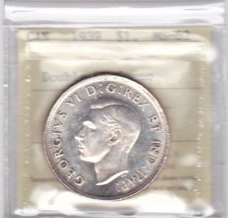 1939 Silver Dollar Iccs Graded Ms 62 Double Hp:cameo photo