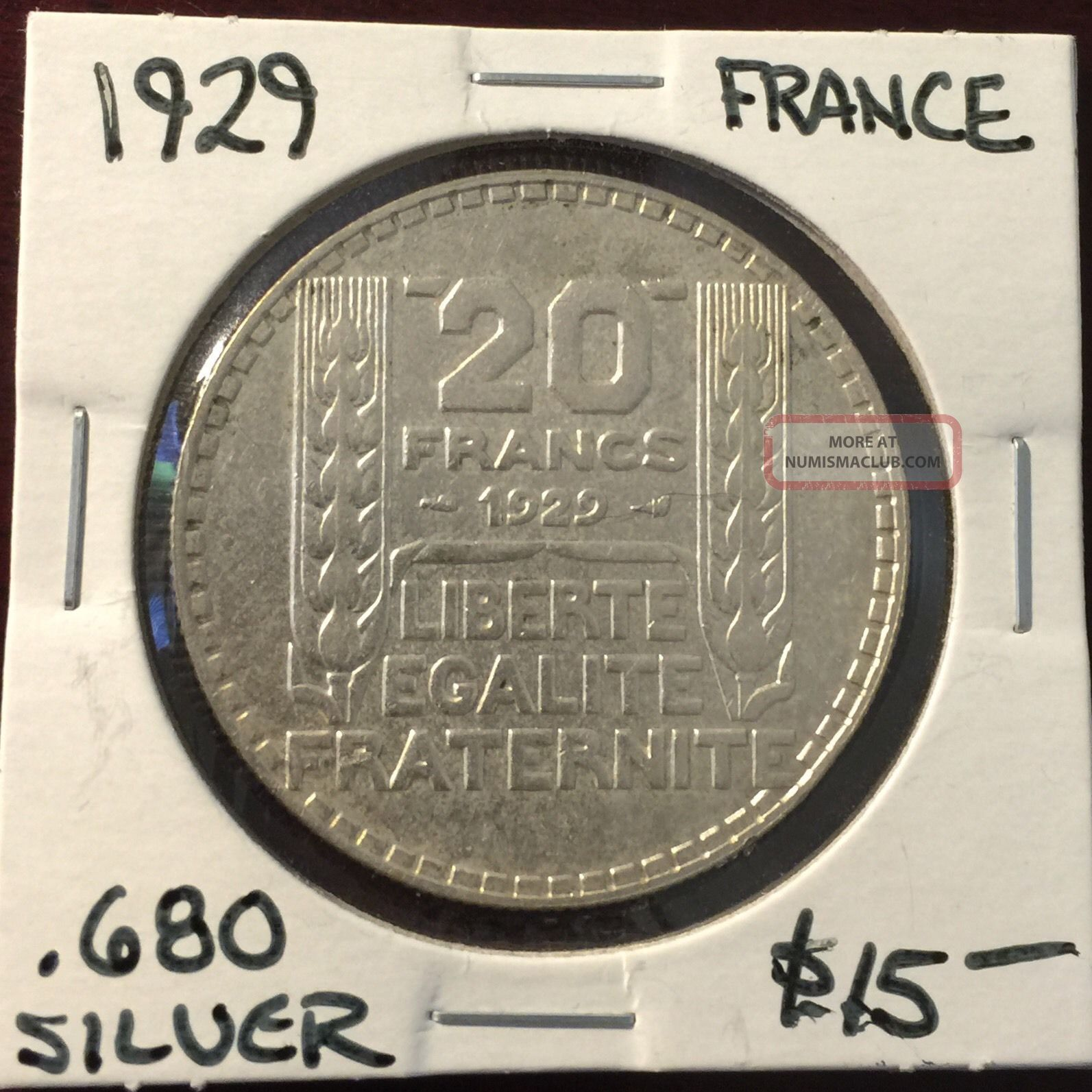 France Silver 1929 20 Francs Europe photo