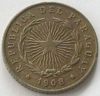 Paraguay,  Coin,  10 Centavos 1908,  Scarce Only 300.  000 Minted photo