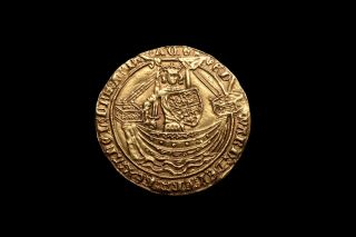 Medieval English Gold Noble Coin Of King Edward Iii - 1369 Ad photo
