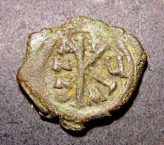 Maurice Tiberius,  Christian Crosses,  Constantinople,  Byzantine Large K Coin photo