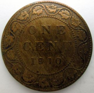 1910 Canadian Large One Cent Penny Copper Canada Coin 1c Edward Vii - Detail photo