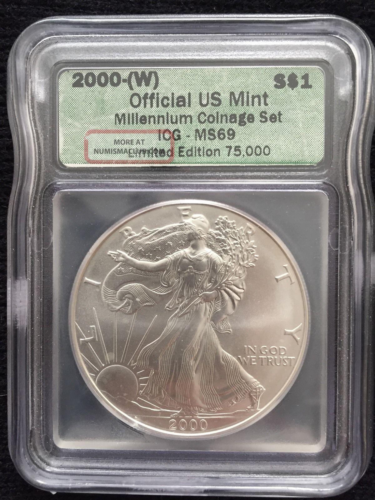 2000 W Ms69 Liberty Walking American Silver Eagle Dollar