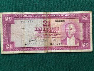 Old Turkish Bill Iki Bucuk Seri V34 80008 1930 Turkey Money 2 1/2 Antique photo