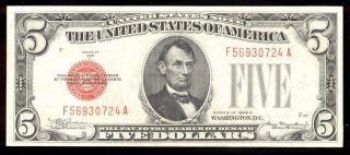 Riotis 4120: Us Frn Gem Unc $5 Red Seal 1928 C,  F - 1528 photo